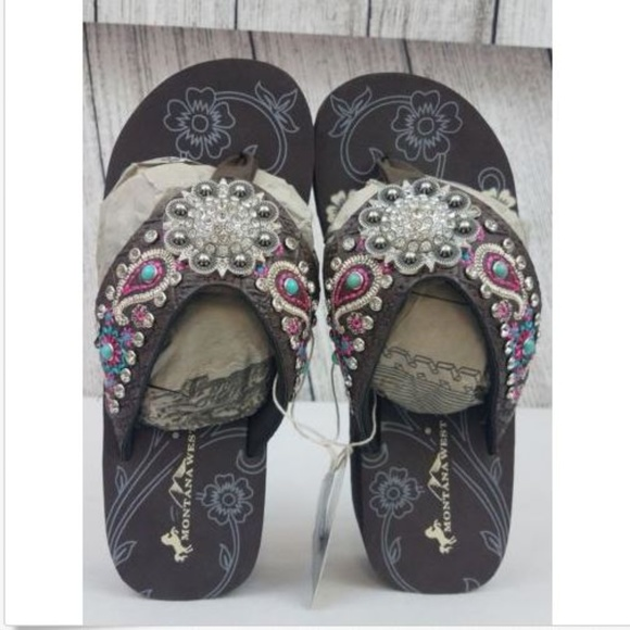 4173d9284 Paisley Embroidered Floral Concho Wedge Flip Flops
